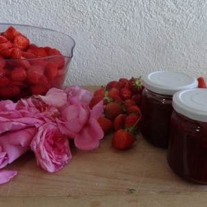Strawberry and rose petal jam