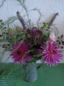 pink dahlia vase