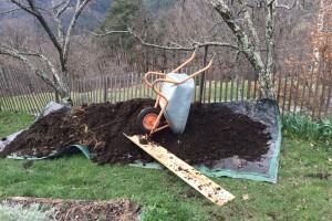 Emptying a compost bin